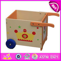2015 New kids wooden storage container toy,popular children storage container, Shape 2 wheel toys box wooden toys WJ278033