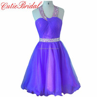 Tulle Skrit Puffy Graduation Dresses Beaded Belt Purple Halter Cocktail Dresses