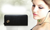 Hot sell nice quality black women fashion genuine leather name brand wallet dropship paypal