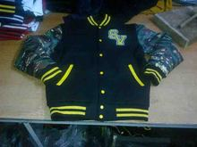 Varsity Jackets / Varsity jackets with camo leather sleeves / Get Your Own Designed Varsity Jackets From Pakistan Bobbin
