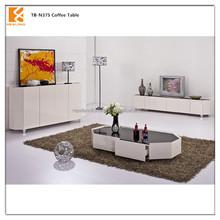Longjiang Shunde Newland furniture factory modern high gloss mdf oval tea table TB-N375