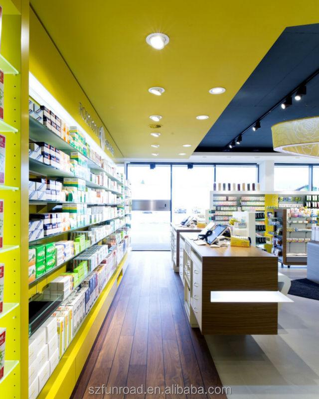 Customized pharmacy shelves for pharmacy retail store for A t design decoration co ltd