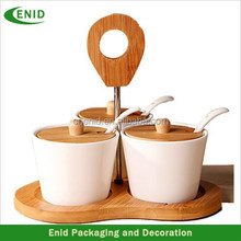 Seasoning pot set with wood lid and handle
