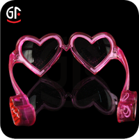 China New Products Wholesale Free Sample Plastic Light Up Heart Shaped Led Sunglasses