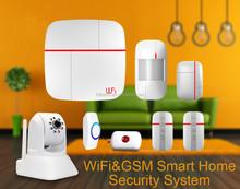 APP GSM home burglar alarm system & Wireless GSM smart Security Alarm , latest WiFi GSM GPRS alarms system with solar siren+IPC