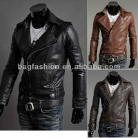 New Men's Slim Fit Top Designed Sexy PU Leather Jacket Short Jacket Coat