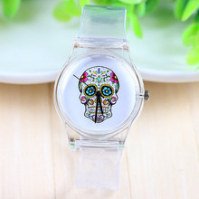 7 Styles Jelly Silicone Punk Style Skull Gothic Wrist Watch Ladies Women Men Transparent Plastic Quartz Watch women dress Watch