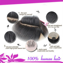 Factory supply 100% silk base Indian remy hairpiece for men