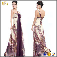 OEM wholesale women Pretty Printed One Shoulder Ruching Chiffon color combinations of dresses Long Evening Gown
