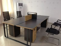 wooden table top steel frame office desk with partition