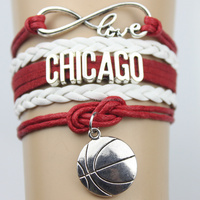 Top Quality Infinity Love BULLS basketball Team Bracelet red black Customized Chicago Wristband friendship Bracelets