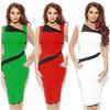 Wholesales Asymmetric Neck Sleeveless Knee Length Bodycon Dresses CA-A05