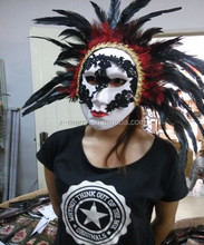 X-MERRY Handcraft with bird feather Brazil fancy party half face plastic mask