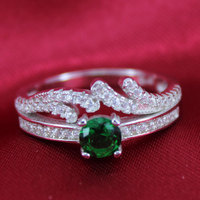 fashion jewelry 925 sterling silver cubic zircon silver stack ring Rhodium Plated