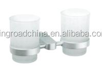 Aluminum Bathroom accessory 92068 Double Tumbler Holder With Glass