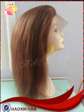 Geade 8A 16'' Virgin Remy human hair natural straight front lace wig in #4 color