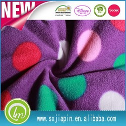Wholesale cheap Antipilling two side brushed colorful dots printed on purple 100%polyester polar fleece blanket