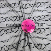 Nylon spandex black heart shaped dress lace fabric