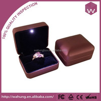 antique style leather led jewellery ring box (WH-3216-RI-3)