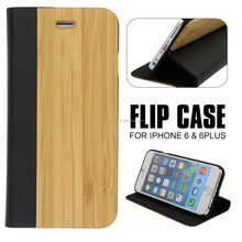 China Wholesale Wood Custom Flip Leather Mobile Phone Case For Iphone 6