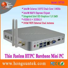 Barebone PC System Intel Celeron C1037U Quad Core 1.80Ghz CPU Thin Fanless Barebone Mini PC, 2USB2.0, 4USB3.0, 300M WiFi, VGA