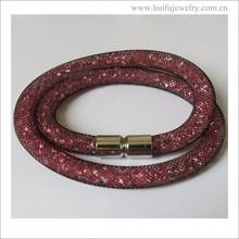 new arrival stainless steel magnet locket red resin long bracelet