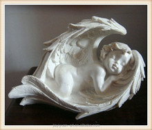 2015 Wholesale Resin Pretty Sleeping White Small Wing Angel Figurine for Home Decoration angel figurine