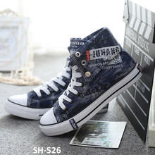 New pattern 2016 casual canvas shoes High Cut Black Men Sneakers cowboy