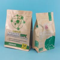 Flat bottom kraft paper food bag with zip