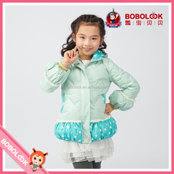 Kids clothing suppliers china girl down coat with hoodie, thick winter clothes