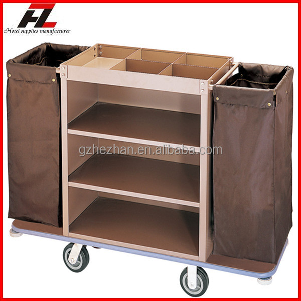 Hotel single sided metal laundry cart with wheels room for Hotel room service cart