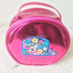 Patent Leather Round Cosmestic Bag, Functional Fashion Lady Make Up Bag