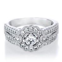 SJ Factory Wholesale SJIR0456 Stylish Women Brass Platinum Plated Round Zircon Engagement Ring as Gift 6#7#8#9# 2 Pcs/Set