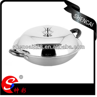 Wholesale stainless steel cover Aluminum alloy big cooking pot / two handles deep woks