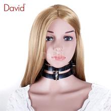 David 430*80mm Triple Straps Choker Black Leather Collar Adjustable Belt Neck Strap Slave Dog Fantasy Bondage sex Sex Product