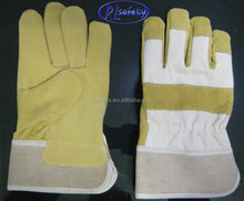 Golden yellow deerskin leather safety gloves winter 2012