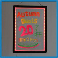 ZD Transparent Stylish Sign Board Illuminated Write on Board 3mm Acrylic Panel Aluminum Alloy Frame LED Writable Sign 90 Modes