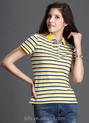 apparel women casual polo t shirt yellow stripe