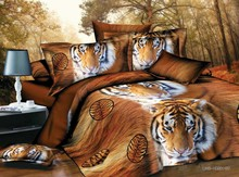 3d luxury shiny bedding 4pcs animal yellow tiger printed quilt china duvet cover set
