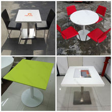 2014 Modern Heat Selling Acrylic Stone Top Metal Base Modern Dining Table