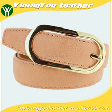 Women's fashion Pink PU leather belt with smooth gold buckle belt