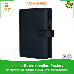 High-ending quality custom black genuine leather note book cover with logo