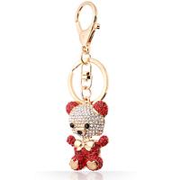 Fashion Zinc Alloy Crystal Toy Bear Gold-plated Animal KeyChain for women