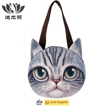 3D cat face hand bag/school bag
