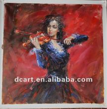 High Quality Woman Violin Painting Impressionist