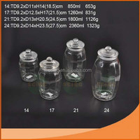 Hot selling large ball shaped glass jar with glass lid and plastic seal