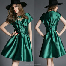 High quality ladies clothing short sleeve plain twill bow front dress