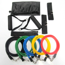 Resistance Band Set with Door Anchor, Ankle Strap, Exercise Chart, and Resistance Band Carrying Case 11 Pcs Set