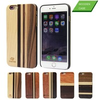 Sample order accepted wood cell phone case accessory fashional design mixed wood style wooden hard cover for iPhone 6