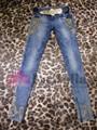 2015 moda caliente de perforación y bordado para mujer Jeans ajustados con cinturón de Metal LD-030